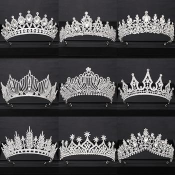 Korona ślubna ozdoba ślubna do włosów srebrny Rhinestone diadem kryształowy korona królowej księżniczka tiary biżuteria ślubna akcesoria do włosów tanie i dobre opinie AiliBride Miedzi Ze stopu cynku SILVER TRENDY Hairwear Moda PLANT Kobiety