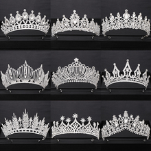 Wedding Crown Bridal Headdress Silver Rhinestone Crystal Diadem Queen Crown Princess Tiaras Jewelry Wedding Hair Accessories недорого