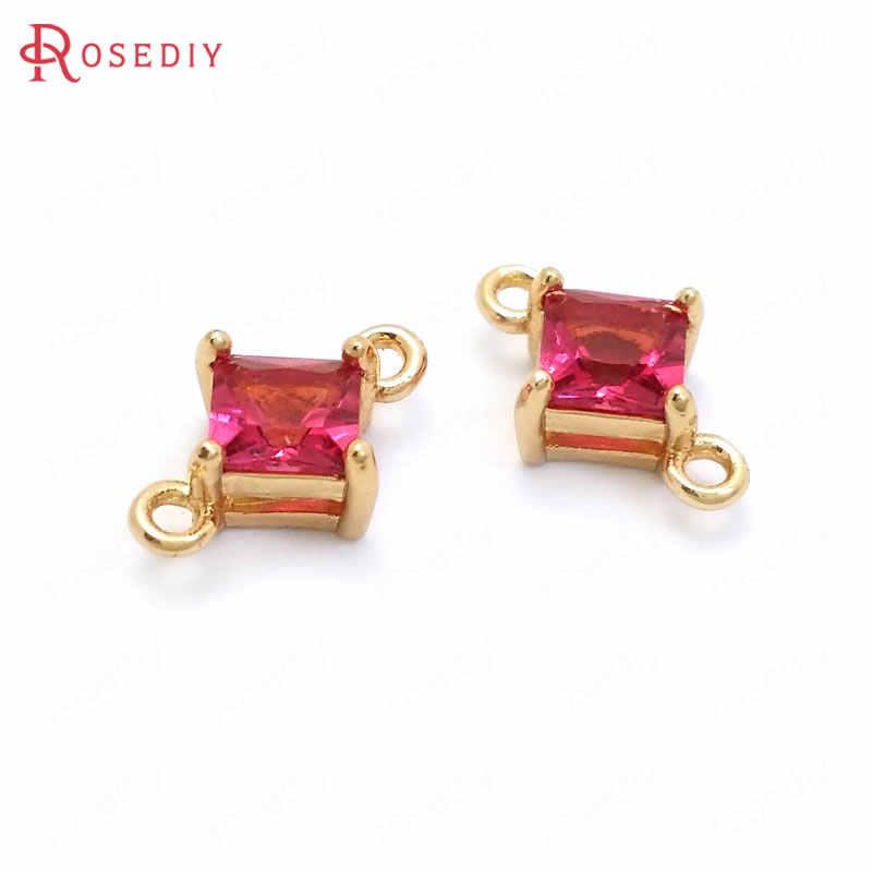 (37097) 10 Pcs 10X6.5 Mm 24K Champagne Gold Warna Kuningan dan Zirkon 2 Lubang Persegi Terhubung Hiasan Liontin perhiasan Pembuatan Perlengkapan
