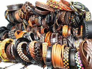 Image 5 - MixMax 50pcs/pack assorted retro Handmade mens top Genuine Leather tribal surfer cuff bracelets mix styles