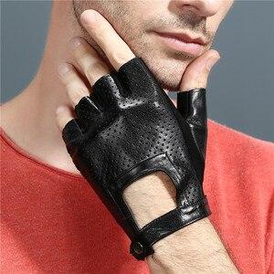 Image 4 - 指革手袋カードライビンググローブ男性の本物のユニセックス女性女性スポーツハーフフィンガー戦術的なアンチスリップ通気性