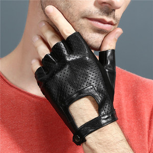 Image 4 - Fingerless Leather Gloves Car Driving Gloves Mens Genuine Unisex Female Women Sports Half Fingers Tactical Anti Slip Breathable