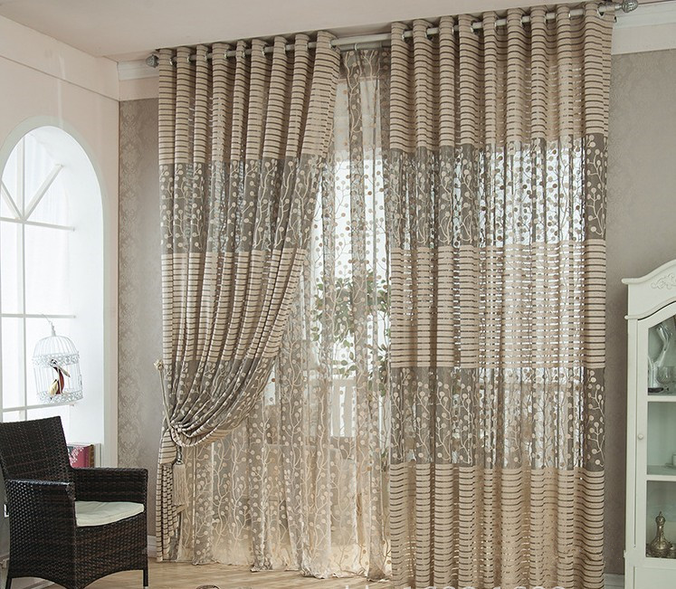 2PCS Floral Modern Sheer Tulle Curtains 100*270cm For Living Room Tulle Door Window Curtains Scarf Drapes Home Decor