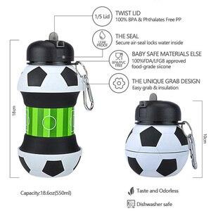 Image 4 - ความแปลกใหม่ฟุตบอลกีฬาน้ำขวดฟางพับเก็บได้ซิลิโคนท่องเที่ยวขวดของฉันนวัตกรรมCamping 550ml H1224