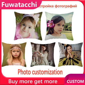 Fuwatacchi Life Photo Customization Pillow Cover Child Personal Customize Cushion cover Linen Pillowcase Decorative pillows 45cm(China)