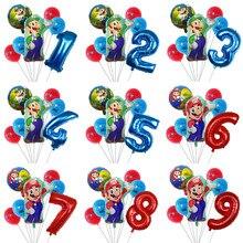 7 pçs super mario balão de látex mario bros balões para 1 2 3 festa de aniversário decoração do chuveiro do bebê 12 lululugis mario ballons crianças brinquedo