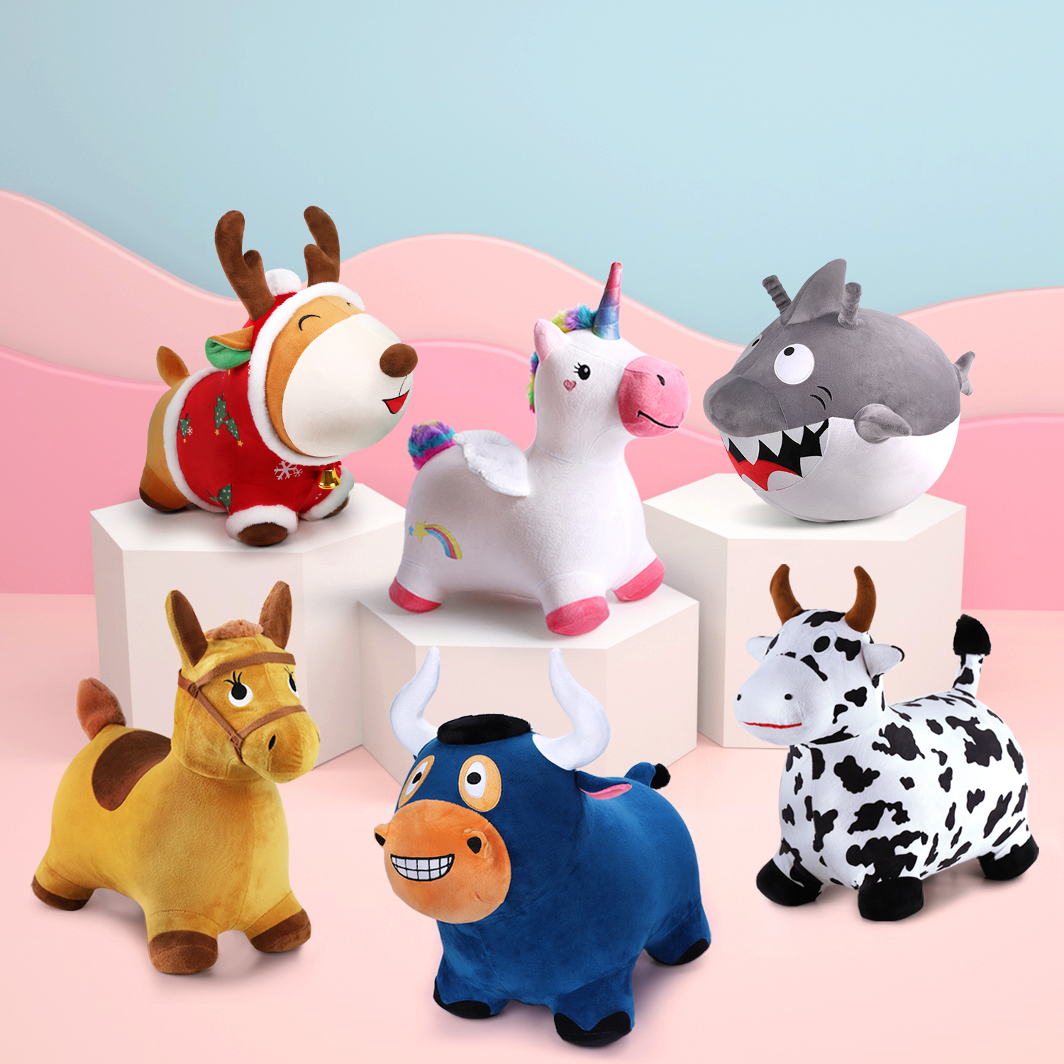 Kids Ride On Bouncy Play Toys Hopping Horse Plush Inflatable Animals Birthday Gifts for 3 4 5 Years Old Boys Girls Toddlers
