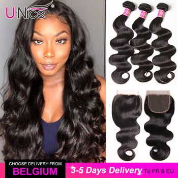 "UNICE Hair Body Wave Bundles With Closure Human Hair Bundles With Closure 8-30"" Brazilian Hair Weave Bundles DIY Wig By You"