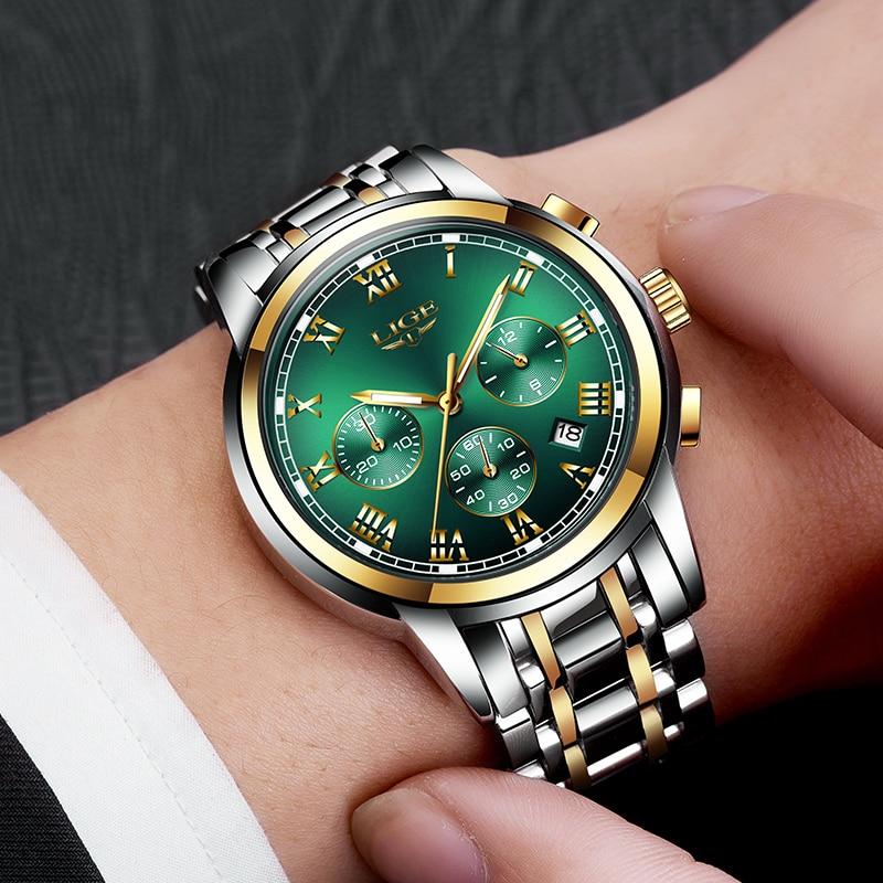 LIGE Men Watch 30m Waterproof Watches Mens Top Brand Luxury Steel Business Wristwatch Chronograph Male Clock Saat Relojes Hombre