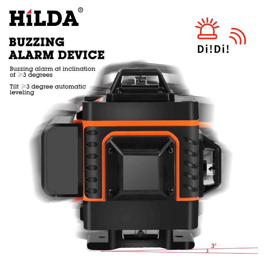 HILDA 3D 4D Laser Level Level Self-Leveling 360 Horizontal And Vertical Cross Super Powerful Green Laser Level