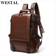 Men's Backpack Laptop Genuine-Leather Luxury Brand Satchel School-Bag Fashion Desinger