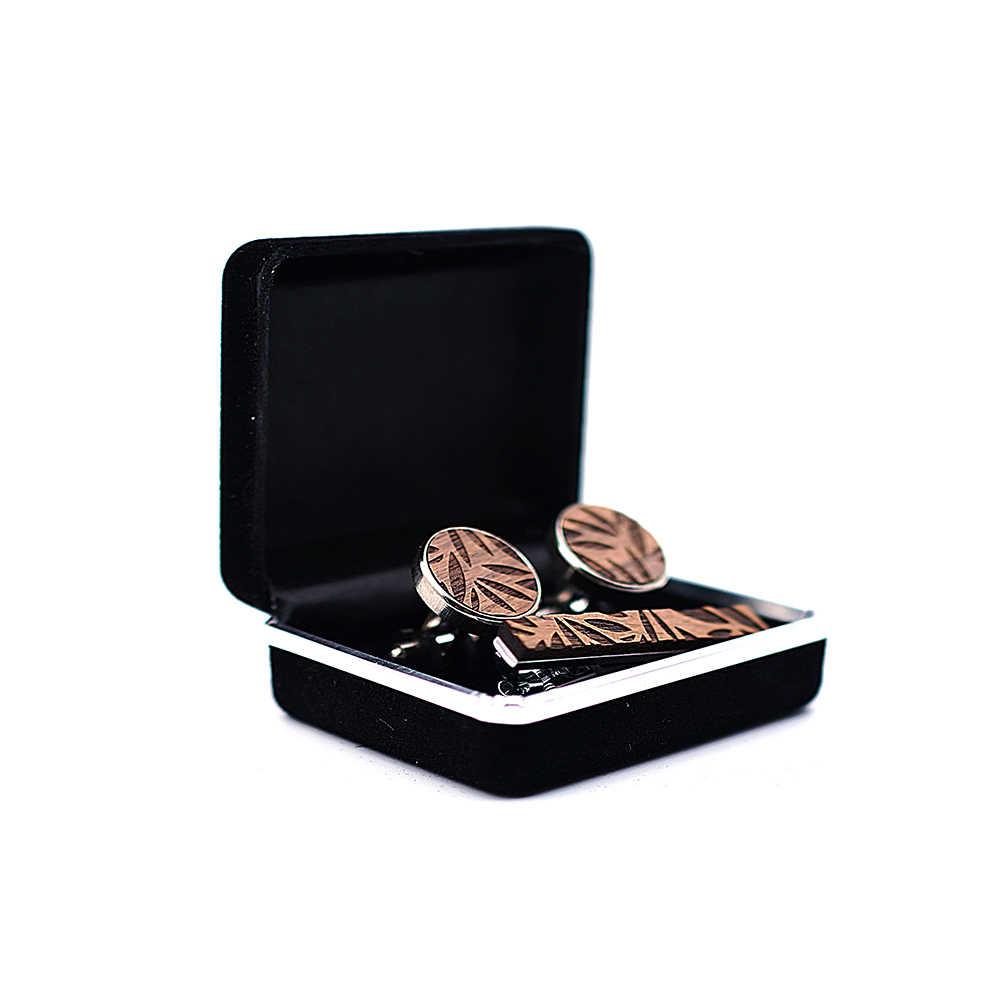 Nowy drewniany prosty styl mody spinka do krawata dla mężczyzn Metal Tone prosty pasek zapięcie praktyczne krawat zapięcie spinka do krawata dla mężczyzn prezent liść