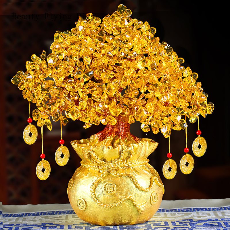Large Golden Natural Crystal Lucky Money Bag Tree Fortune Tree Money Tree Business Craft New Home Gift Decoration Sculpture