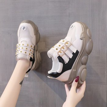 Fashion 2020 Women Sneakers Autumn Platform Boots Hidden Increasing Sneakers 7 CM Heels Wedge Casual Woman Breathable Shoes image