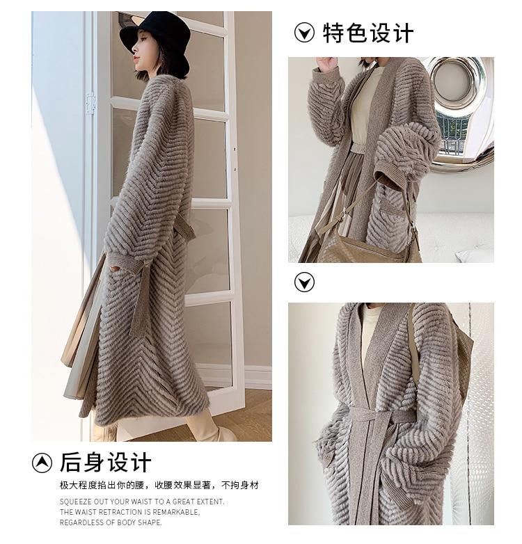 H779a919383a44ff38b31d126a2c4b6edz HDHOHR 2021 New High Quality Natural Mink Fur Coat Women With Belt Knitted Real MinkFur Jacket Fashion Warm Long For Female