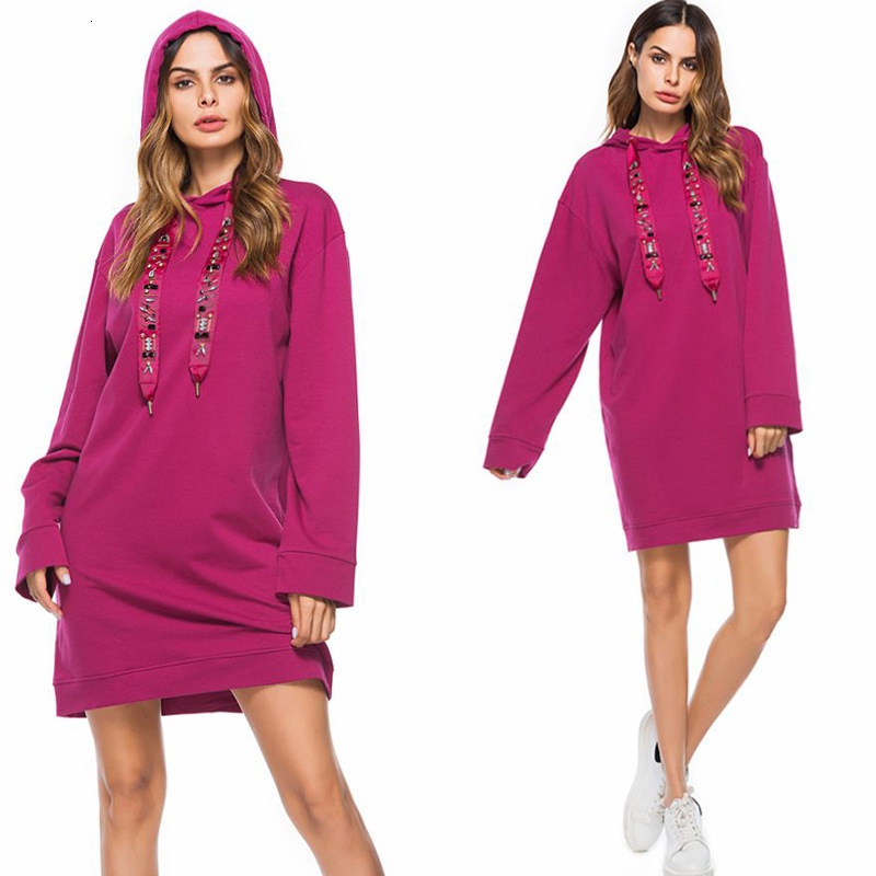 Autumn Winter Long Sleeve Lady Hoodies Sweater With Hat Rose Red Fleece Short Women Cocktail Dress Plus Size Vestido Fiesta