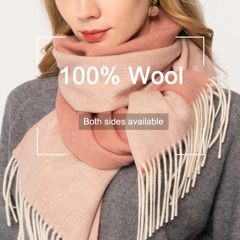 100% Pure Wool Scarf Shawls Winter for Women Blanket Warm Tassel Female Nature