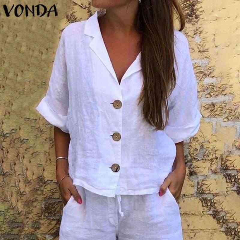 Vrouwen 'Tuniek Wit Tops Vonda Vintage 3/4 Mouwen Bohemian Beach Shirts 2019 Casual Losse Blouse Sexy Party Tops Plus Size blusa