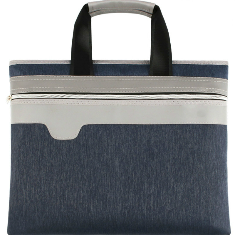 File Folder Briefcase Document Bag Large Capacity Canvas Zipper Business Office Bag Meeting Men Women Handbag Paper Organizer