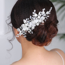 Wedding Elegant Hair Accessories Silver Flower Hair comb Chic Headpieces Bride to be