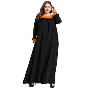Image 4 - 黒女性イスラム教徒長袖マキシドレスイスラムカフタンドバイパーティートルコ Abayas ラマダンローブカクテル Jilbab アラブ