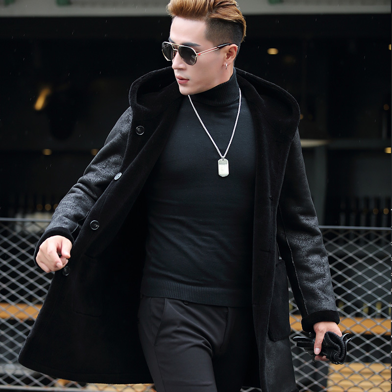 Mens Genuine Leather Jacket Sheep Shearing Real Fur Coat For Men Double-sided Wear Hooded Leather Jacket Pwj1282 KJ847