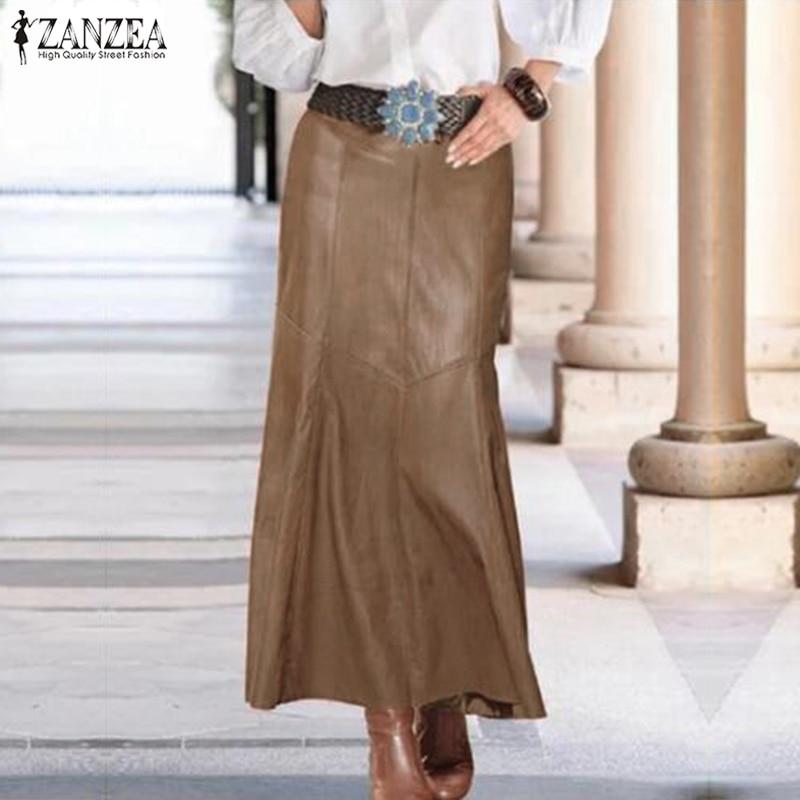 ZANZEA 2020 Casual Hohe Taille A-linie Rock Weibliche Feste OL Mode PU Leder Röcke frauen Frühling Vestidos Robe Plus größe