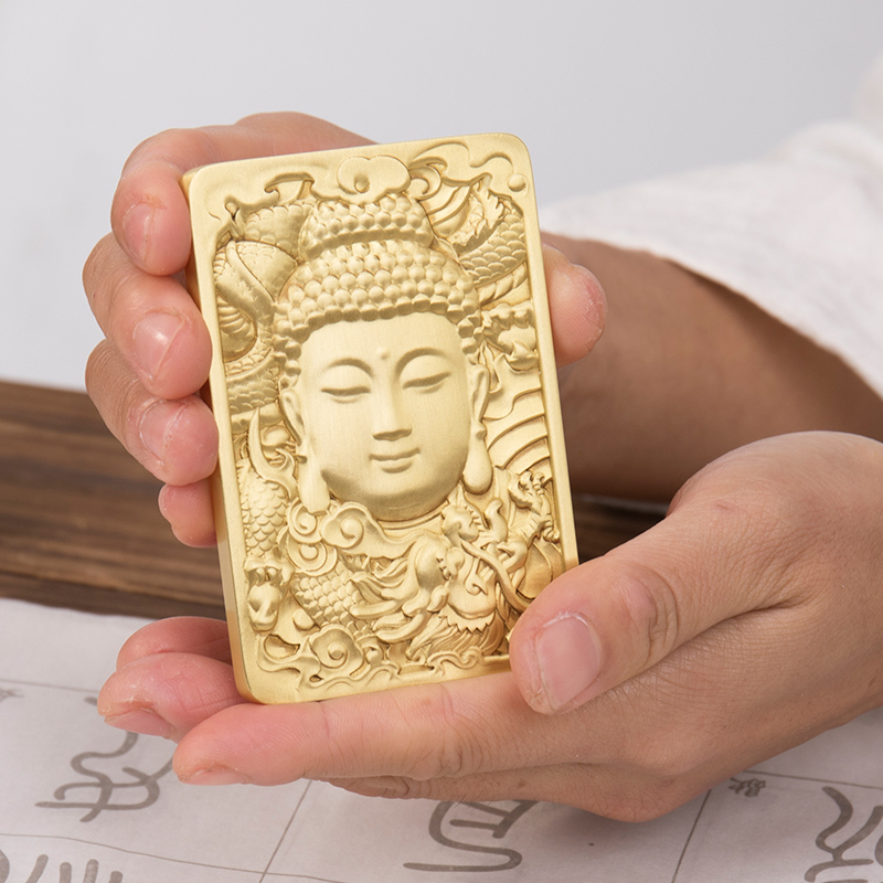 Metal Relief Paperweight Exquisite Brass Paperweights Square Chinese Traditional Pattern Painting Calligraphy Paper Pressing