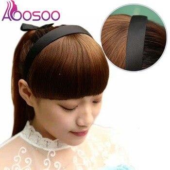 Wysokiej temperatury włókna syntetyczne włosy Fringe Blunt Bangs z pałąkiem na głowę prosto czerwony przypinana grzywka dziewczyna Hairband nakrycia głowy