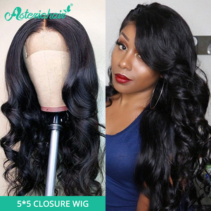 Asteria Body Wave 5x5 Lace Closure Wigs For Black Women Pre Plucked Brazilian Human Hair Wigs 150 180 Density Remy Hair Wigs(China)
