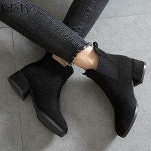 Большие размеры 35-43; женские ботильоны из флока; сезон осень-зима повседневные однотонные ботинки без застежки с круглым носком на квадратном каблуке 3,5 см; цвет черный, бежевый