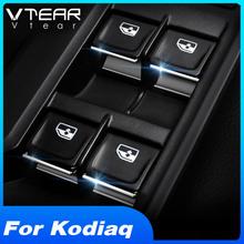 Vtear for Skoda Kodiaq door window lift button switch sequin interior mouldings ABS car styling trim cover accessories auto 2018