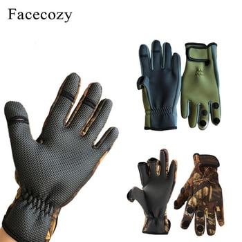 Facecozy Outdoor Winter Fishing Gloves Waterproof Mitten Three Fingers Cut Anti-slip Climbing Glove Hiking Camping Riding Gloves