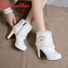 ANMAIRON Super High PU Ankle Boots for Women Short Plush Solid Shoes Metal Decoration Pearl White Square Heel black