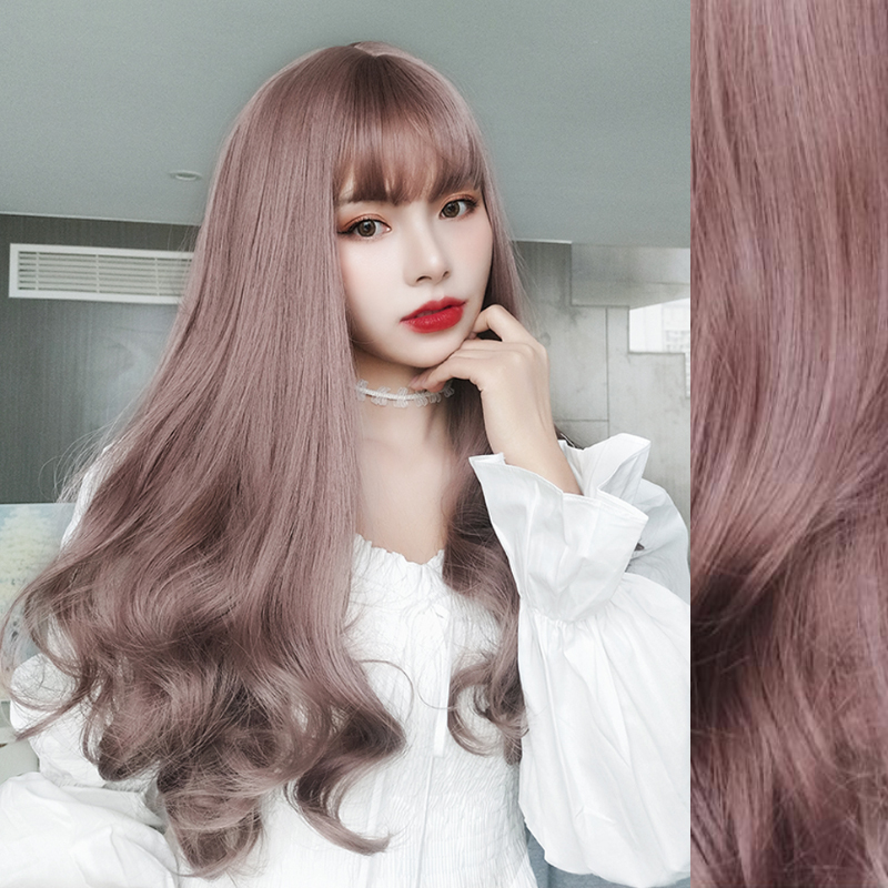Long Wavy Wig Synthetic Hair Wigs with bangs For white Women Cosplay/Party  High  temperature fiber 5 colors