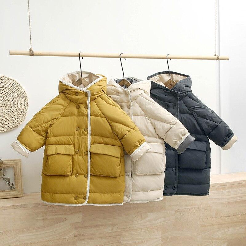 HYLKIDHUOSE/Коллекция 2019 года, зимние пальто на утином пуху для девочек и мальчиков детская пуховая куртка утолщенная теплая детская зимняя куртка с капюшоном