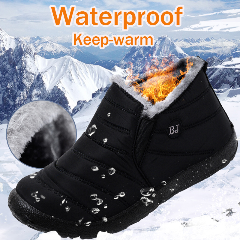 2020 Winter boots women waterproof snow shoes  Warm Fur Ankle Boots  Female Slip On Flat Casual Shoes Couple shoes plus size