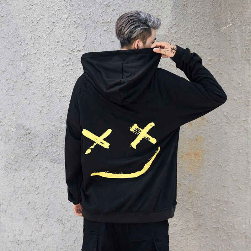 Dropshipping ซัพพลายเออร์ชายเสื้อ Hoodies Smile พิมพ์ Headwear Hoodie Hip Hop Streetwear เสื้อผ้าขนาด Plus ขนาด 3XL