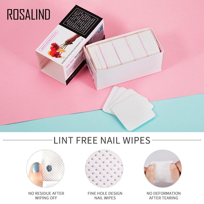 ROSALIND Lint-Free Nail Wipes Napkins Nail Art Nail Remover Wipes For Gel Polish Remove Pure Cotton Nails Pads Paper 250Pcs/Lot
