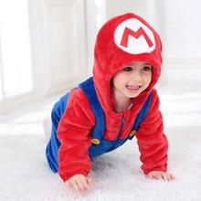 Children Boy Kugurumi Cartoon Pajama Red Mari O Onesie Cute Baby Suit Soft Warm Sleepwear Carnival Party Outfit Good Quality