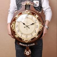 Vintage European Clock Wall Clock Wall Clock Art Wall Clock Wood Large Personality Mute Creative Modern Pendulum Clock 50WC066