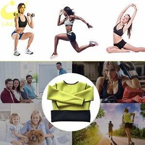 Image 5 - LAZAWG Camiseta de neopreno para mujer, camiseta de manga larga para entrenamiento en gimnasio, camiseta sin mangas adelgazante para modelar el cuerpo, camiseta sin mangas para quemar grasa en la cintura