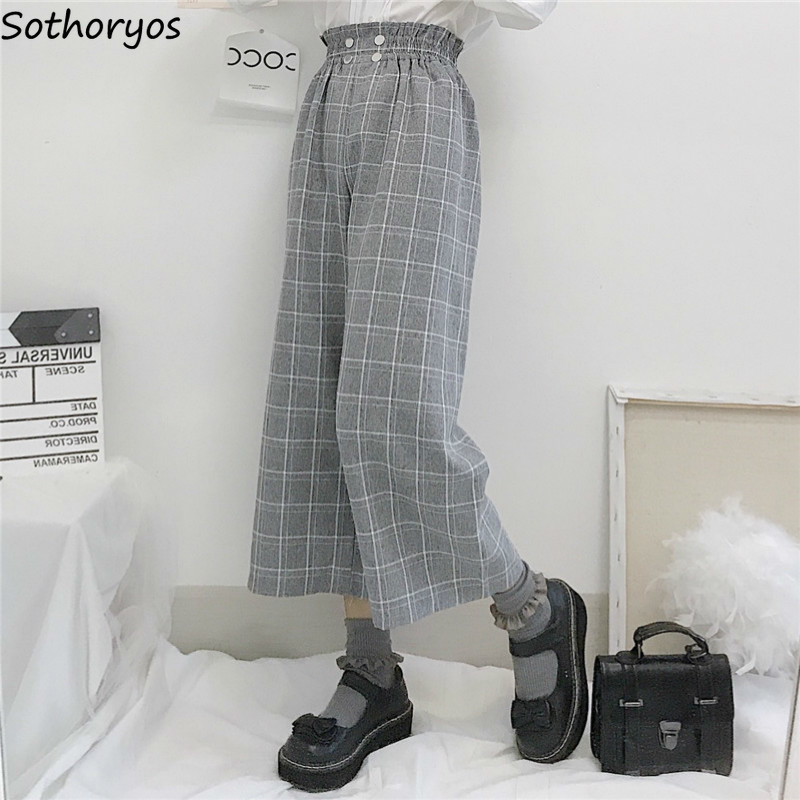Women Pants Fashion Plaid Ankle-length Womens Sweet Chic All-match Korean Style Daily Straight High Waist Harajuk Streetwear New
