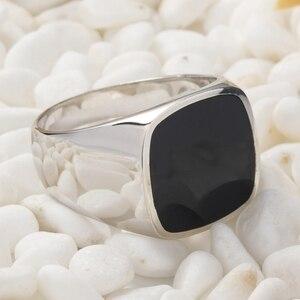 Image 3 - Eulonvan luxe breloques fiançailles mariage 925 en argent sterling bijoux anneaux pour hommes noir résine livraison directe S 3816 taille 6   13