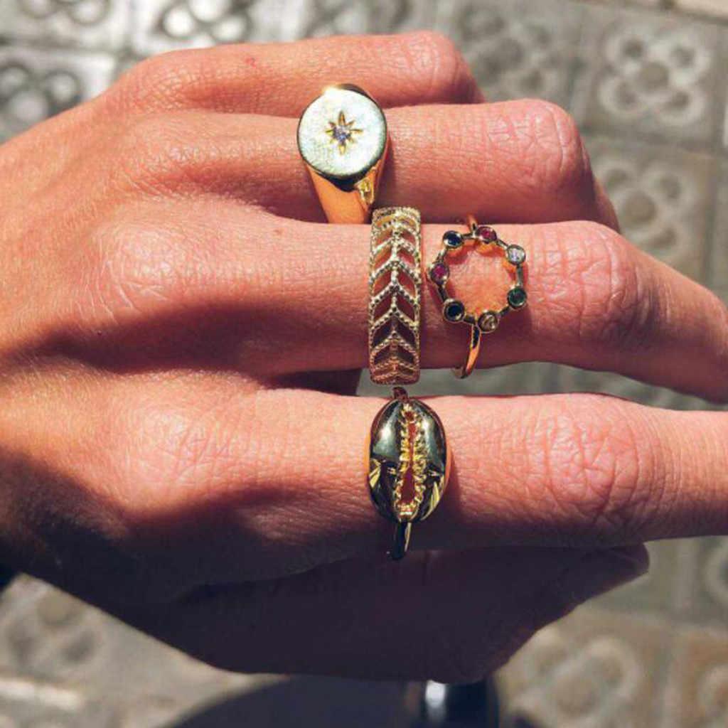 ผู้หญิงแฟชั่น VINTAGE SHELL วงกลม Openwork Leaf Alloy แหวนชุด 4 เครื่องประดับหรูหราใหม่สีเขียวหินสีฟ้าคริสตัลแหวน #10