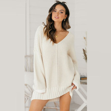 QWEEK Sweater Dress Woman Long Sleeve Short Vestidos Verano V Neck Sexy Loose Knitted Autumn Winter Femme Clothing