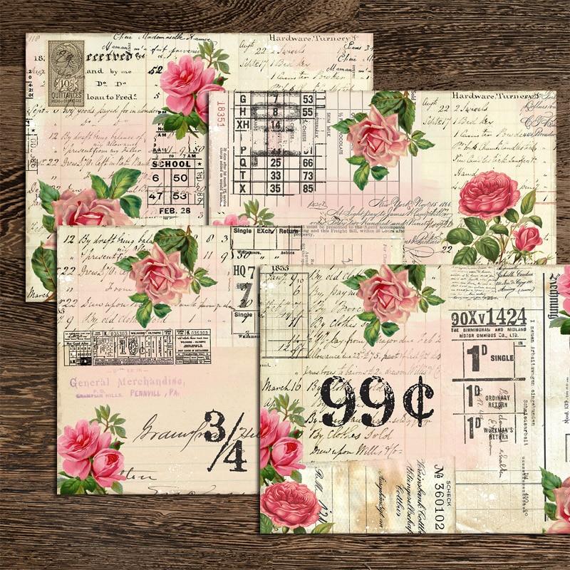 4Sheets English Newspaper Flower Plants Material Stickers Junk Journal Background Decoration DIY Scrapbooking Rose Craft Sticker