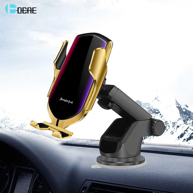 DCAE التلقائي لقط سيارة شاحن لاسلكي 10W سريعة تهمة QC 3.0 الزجاج الأمامي حامل لتابلوه السيارة ل فون 11 برو ماكس XR XS X 8 سامسونج S10 S9 S8 زائد ملاحظة 10 9 8 تشى سريع شحن مستشعر الأشعة تحت الحمراء الهواء تنفيس حامل هاتف