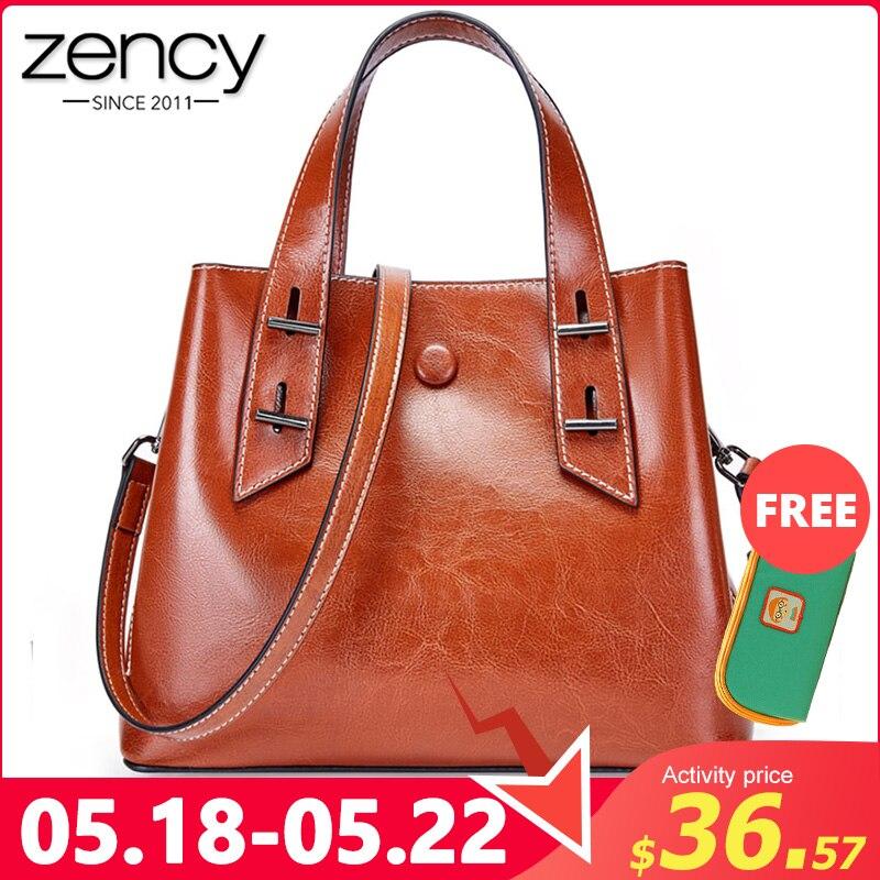 Zency 100% Genuine Leather Retro Brown Women Tote Bag Daily Casual Shoulder Messenger Bags Large Capacity Handbag