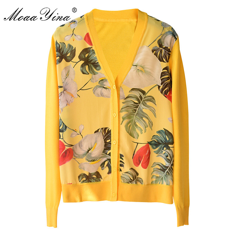 MoaaYina Fashion Runway Silk Flower Print Patchwork Knitting Cardigan Women's Long Sleeve Spring Summer V-Neck Knitting Tops